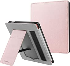 CaseBot Stand Case for All-New Kindle Oasis (9th and 10th Generation, 2017 and 2019 Releases) - Protective PU Leather Sleeve Cover with Card Slot and Hand Strap, Rose Gold