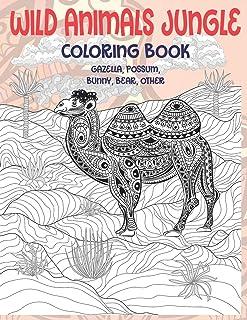Wild Animals Jungle - Coloring Book - Gazella, Possum, Bunny, Bear, other
