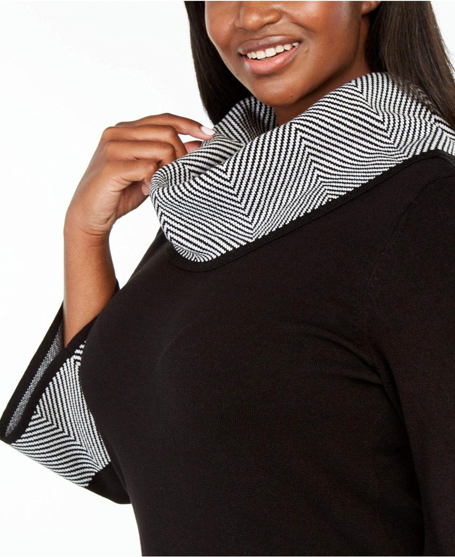 Jessica Howard Womens Black Houndstooth 3/4 Sleeve Cowl Neck Above The Knee Sheath Dress Size