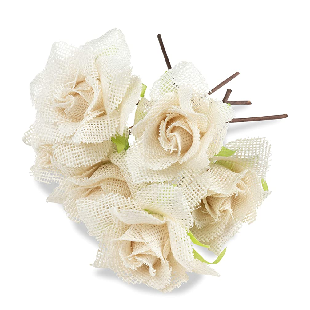 Genie Crafts 6-Count Burlap Rose with Stem, Jute Flower Picks for Flower Arrangements, Wedding, DIY Crafts and Decor, 4 x 8.75 Inches