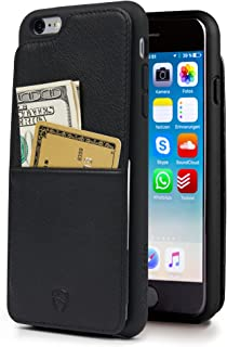 iPhone 6(S) Plus Case, Vaultskin Eton Armour iPhone 6(S) Plus (5.5) Case Wallet, Slim, Minimalist Genuiner Leather Case - Holds up to 8 Cards/Top Grain Leather (Black)