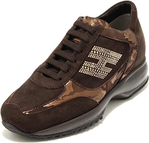 Hogan 4426G Sneaker Donna Marrone Interactive h Strass Scarpa Shoes Women
