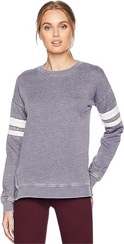 Drop Shoulder Long Sleeve Crew Neck Sweatshirt w/ Contrast Armbands & Rib Trims Side Slit
