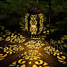 LeiDrail Solar Lantern Outdoor Garden Hanging Lanterns LED Light Metal Decorative Warm White Waterproof Landscape Lighting...
