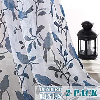 H.VERSAILTEX Rustic Birds Home Decoration Natural Linen Blended Semi Sheer Pair Curtains Breathable and Airy for Living Room/Bedroom Room, Nickel Grommet Top, 52 by 63 Inch, Blue