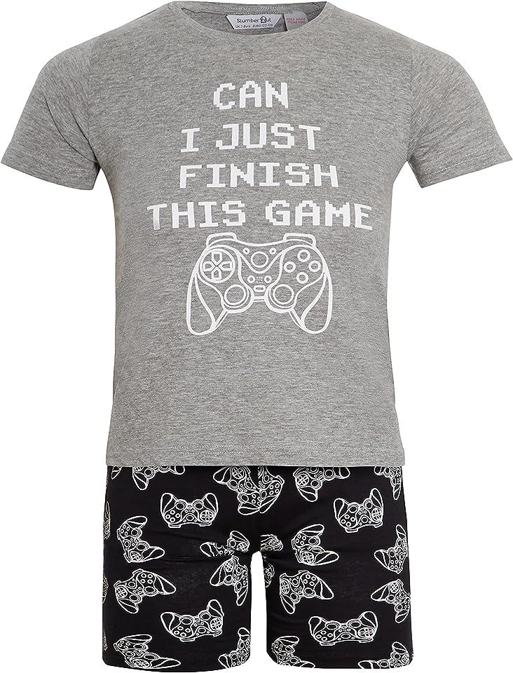 Boys Jersey Pyjamas 100% Cotton - Computer Game Gaming Print Childrens Pajamas PJs - Grey or Black - Size 7 8 9 10 11 12 13 Years