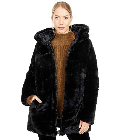 Save the Duck Reversible Faux Fur Hooded Long Jacket (Black) Women