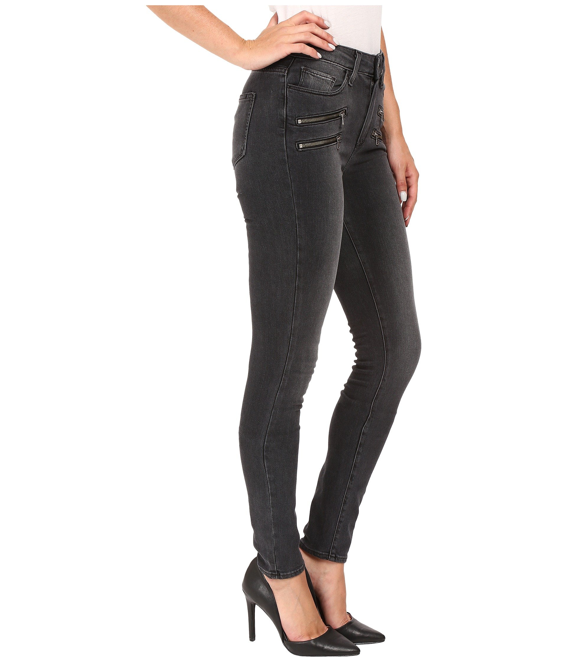 Paige High Rise Edgemont Ultra Skinny In Smoke Grey At 6pm