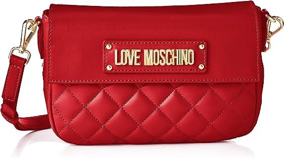 Love Moschino Borsa Quilted Nappa PU, Bolsa de mensajero para Mujer, Negro, 16x23x6 centimeters (W x H x L)