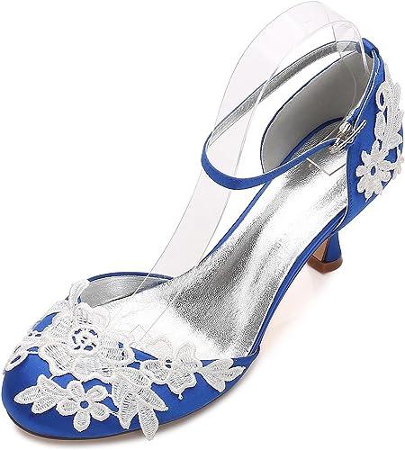 Elegant high chaussures Chaussures de Mariage pour Femmes Femmes D17061-7 Demoiselle d'honneur Fleur à Talon Bas Corsage Satin Boucle près des Orteils  prix les plus bas