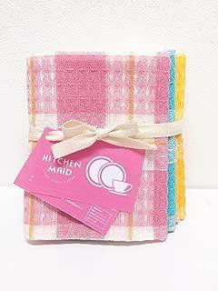 Kitchen Maid Dish Cloth 4pcs Set pink×1、blue×1、yellow×2
