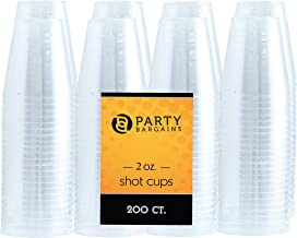 Party Bargains Clear Plastic Cups | Heavy-duty Party Glasses for Jello Shots, Shooter Glass, Free Taste Cup, Condiments, More | BPA Free Disposable Transparent Tumbler | 2 Oz. (200 Pk)