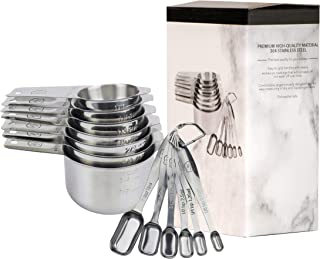 Set of 13 Stainless Steel Measuring Cups and Spoons. Professional-Grade, Set of Nesting Measuring Cups and Spoons for Dry and Liquid Ingredients, by Luxury Home.