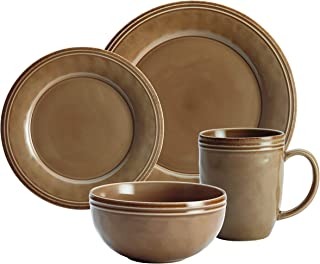 Rachael Ray Cucina Single 4- Piece Place Setting: 1 Each Dinner Plate, Salad Plate, Bowl and Cup (Mushroom Brown)