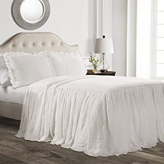Lush Decor 16T002846 Ruffle Skirt Bedspread White Shabby Chic Farmhouse Style Lightweight 3 Piece Set, Queen