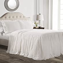 Lush Décor Ruffle Skirt Bedspread White Shabby Chic Farmhouse Style Lightweight 3 Piece Set, Queen,