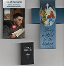 Saint Ivo of Kermartin Relic Magnet with Cross Bookmark and Bible Eraser Patron of Abandoned Children and Lawyer