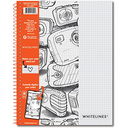 """Roaring Spring Whitelines Spiral Graph Ruled Notebook, Digitally Download Your Notes with FREE App, Premium Gray Paper, 11"""" x 8.5"""" 70 Sheets"""