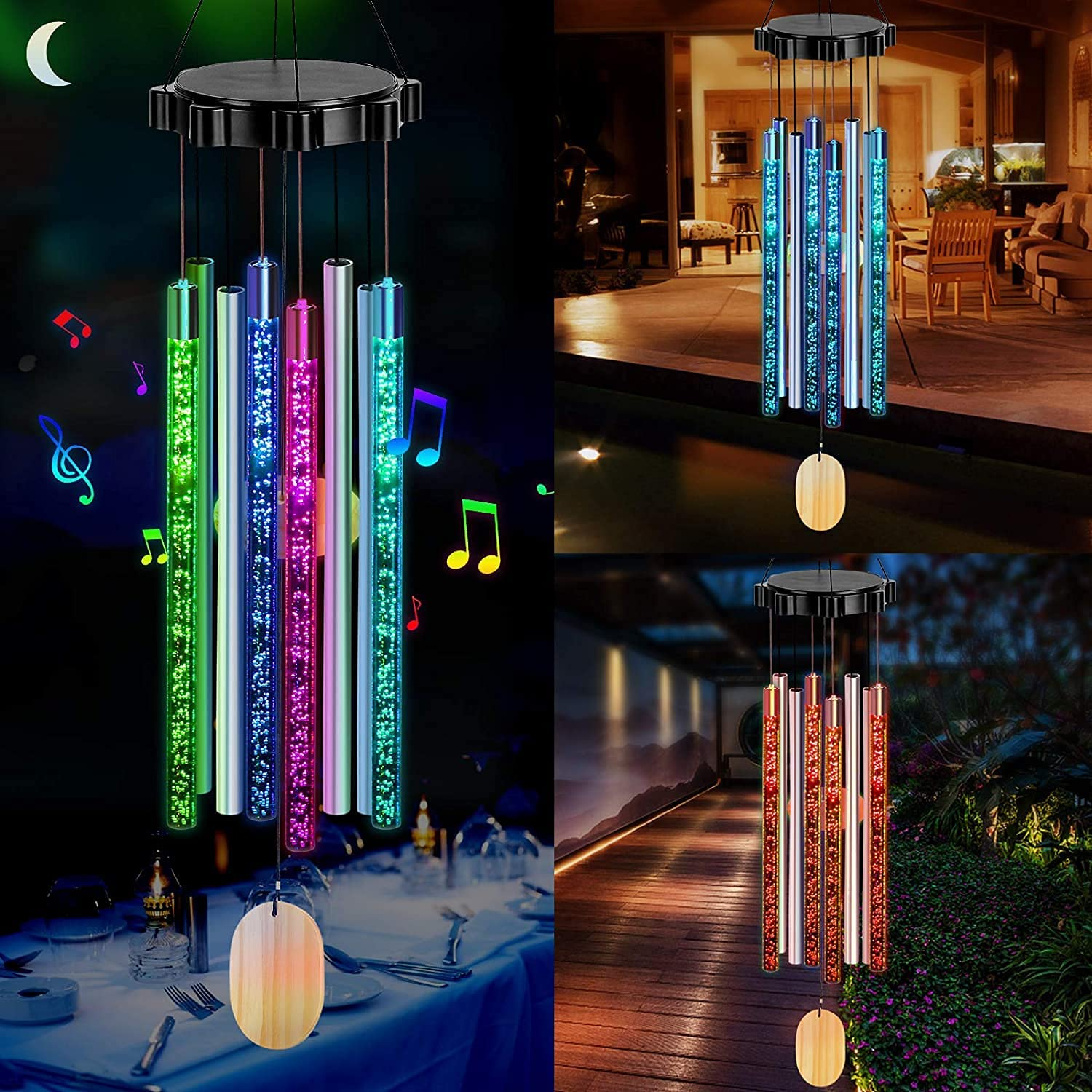 LED Solar Wind Chimes Changing Colors Large discharge sale Mom San Francisco Mall Grand Gifts Women for