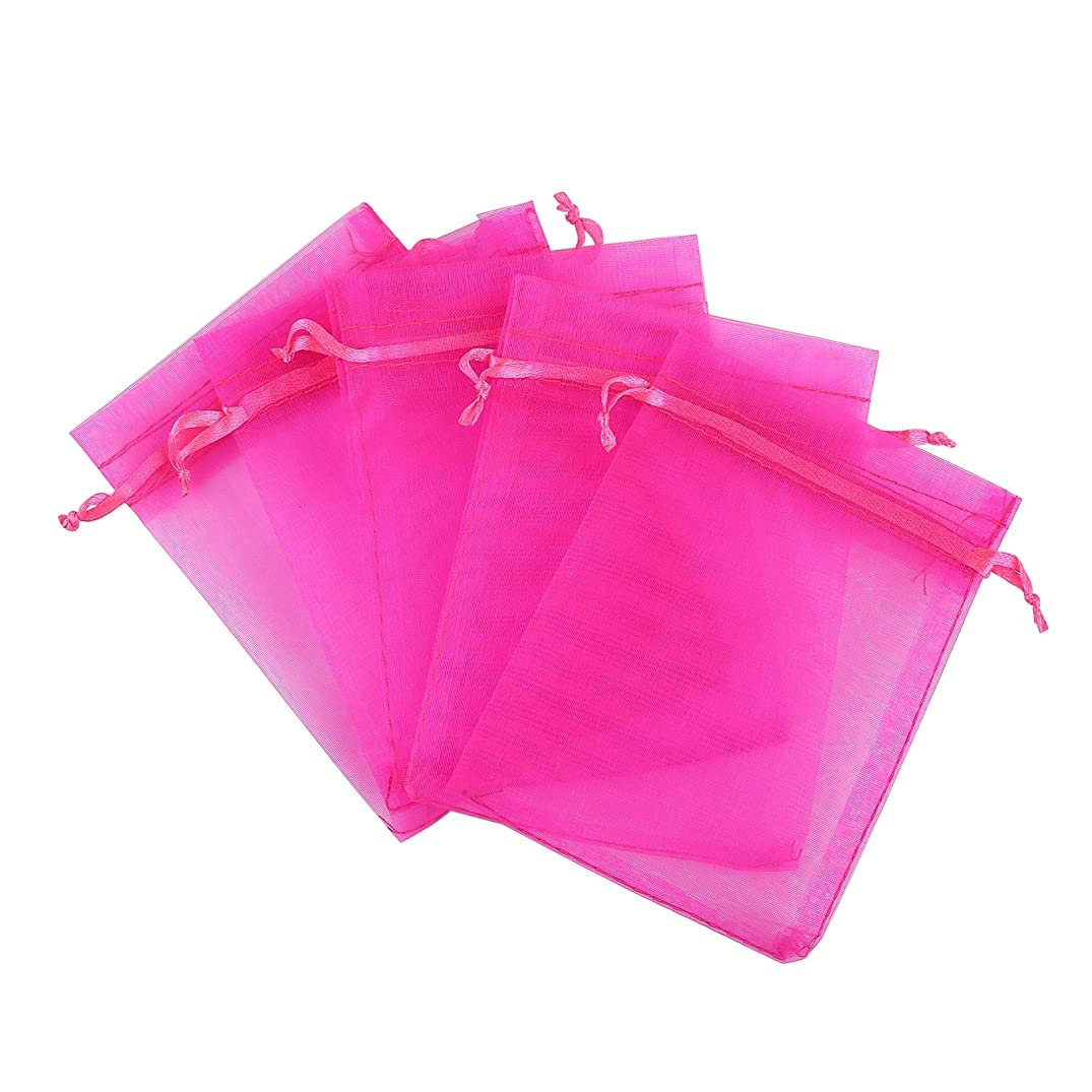 Anleolife 100pcs Sheer Organza Bags Baby Shower 3x4 Jewelry Candy Organza Drawstring Pouches Wedding Favor Bags 3x4