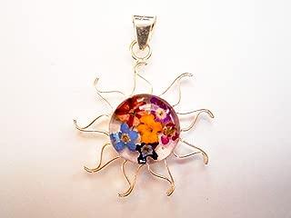 Sun silver 925 dried pressed flower pendant multicolor gift