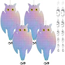 4-pack Shiny Bird Repellent Control Scare Owls Device with Holographic Reflective Woodpecker Deterrent, Effective Hanging Bird Repellent, Included 8-pcs Tinkling Bells & 2-pcs Reflective Spiral Rod