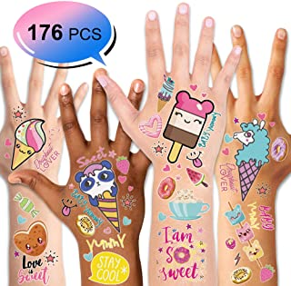 Konsait 176PCS Kids Temporary Tattoo, Fake Waterproof Tattoo Stickers For Children Girls Candy Lollipop Ice Cream Sweet Tattoos for Birthday Summer Beach Children`s Day Gift Party Favors Supplies