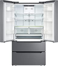 SMETA 36 Inch 22.5 cu ft Counter Depth French Door Refrigerator Bottom Freezer with Auto Ice Maker for Home Kitchen, Stainless Steel