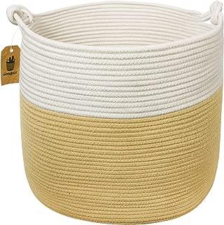 Goodpick Baby Nursery Woven Basket -15'' X 15'' X 14.2'' Storage Basket Cotton Rope Cloth Hamper Basket with Handle for Pillow Blanket Shoes Boho Home Decor Beach Basket, Ginger Color