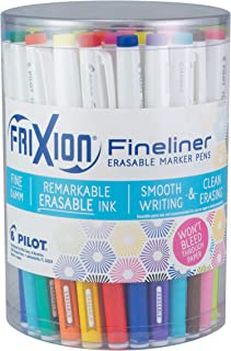 PILOT FriXion Fineliner Erasable Marker Pens, Fine Point, Assorted Color Inks, Tub of 36 (3 Each of 12 Assorted Colors) (8030)