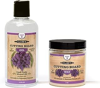 CLARK'S Cutting Board Oil & Wax (2 Bottle Set) | Includes CLARK'S Cutting Board Oil (12oz) & CLARK'S Finish Wax (6oz) | Lavender & Rosemary Scent