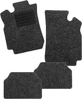 CarFashion 254770 BasicRips B02, Auto Fussmatte in schwarz meliert, Automatte, schwarzer Trittschutz, schwarze Hochglanz Kettelung, Auto Fussmatten Set ohne Mattenhalter