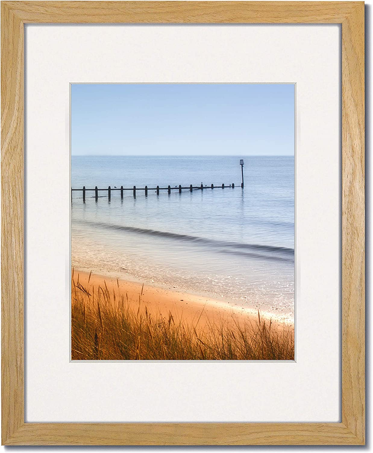 Amazon Com Coastal Wood 16x20 Natural Picture Frames With Clear Glass And Single White Mat For 12x16 1