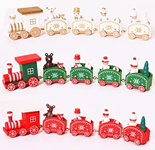 Lanmiya Wooden Christmas Train Ornament Toys for Kids Gift Home Decoration Mini Train,3 Pcs(White, Red, Green) (Set of 3)