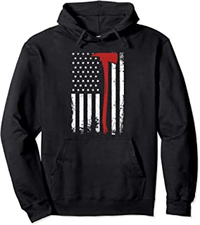 Wildland Firefighter Axe American Flag Thin Red Line Fireman Pullover Hoodie