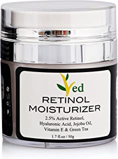 Retinol Moisturizer Cream for Face 1.7 oz with 2.5% retinol, hyaluronic acid, Vitamin E, Green Tea and jojoba oil.