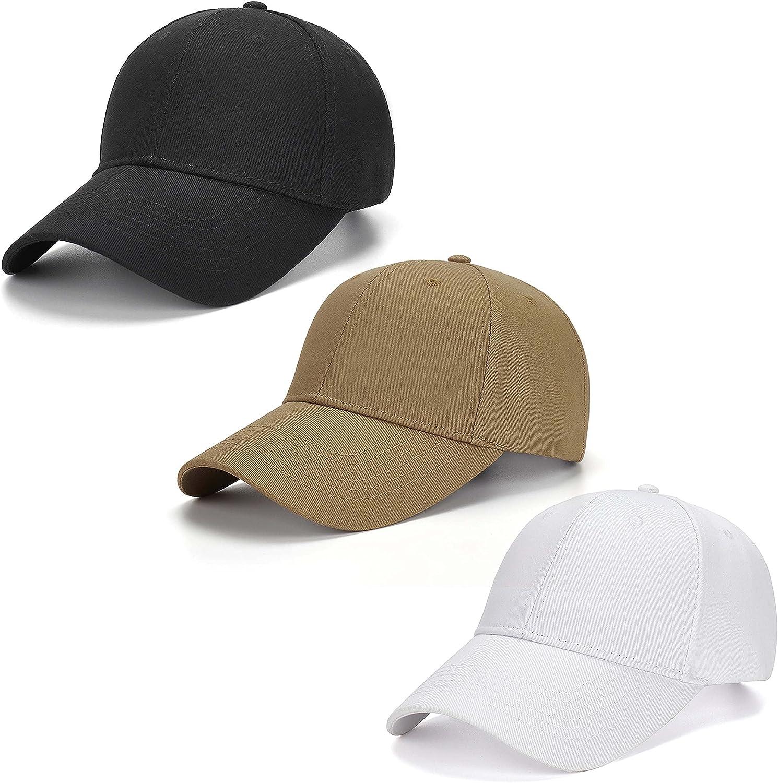 AOSMI 3 Packs Unisex Plain Cotton Strapback Baseball Hat Adjustable,One Size Fits Low Profile Blank Ball Cap for Men Women
