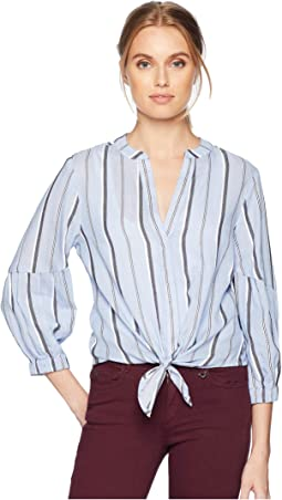 Stripe Shirting Tie Front Top