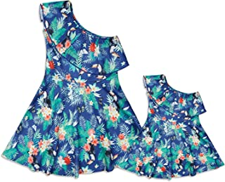 gllive Mommy and Me Matching One Shoulder Floral Mini Dress Sleeveless Ruffles Princess Sundress Family Outfits Clothes
