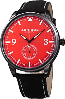 Akribos Chronograph Pilot Style Watch – 45mm Case Comfortable Stitched Casual Canvas Strap - Subdial for Seconds - AK938
