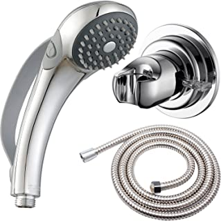 Deliao Elderly Handheld Shower Head Designed For Disabled Pregnant Woman Gravidas With 79-Inch Hose Suciton Cup Holder Bracket Home Care Control Button Convenient Push Button Chrome