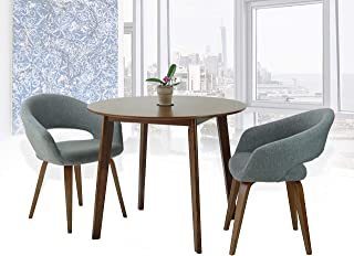 SunBear Furniture Set of 3 Dining Round Wooden Medium Brown Table with 2 Lagos Armchairs Gray Color