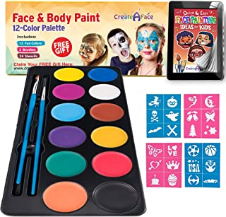 Face Paint Kit for Kids - Vibrant Face Painting Colors, Stencils & 2 Cosmetic Brushes - Body Paint Face Painting Kits - Vi...