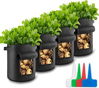 Dioxide 7 Gallon Grow Bags Heavy Duty Aeration Fabric Pots with Handles and Visual Window Thickened Fabric Plant Pots for ...