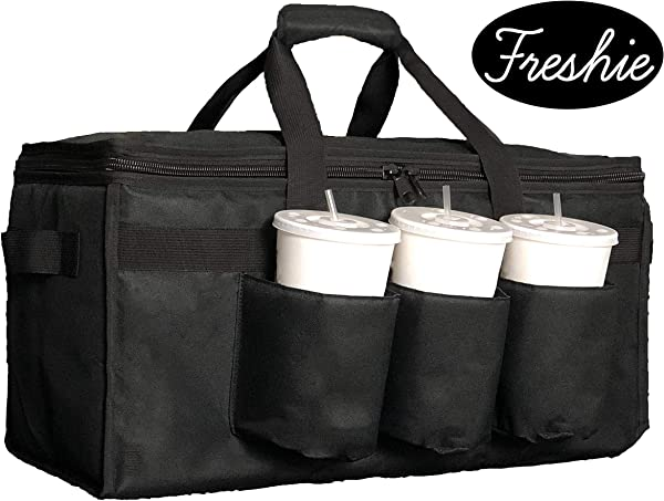 Freshie Insulated Food Delivery Bag With Cup Holders Drink Carriers Premium XXL Great For Beverages Catering DoorDash Uber Eats PostMates Grubhub Commercial Quality Hot Warming And Cold