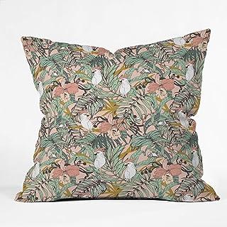 "Deny Designs Marta Barragan Camarasa Drawing Exotic Birds In The Rainforest Indoor Throw Pillow, 16"" X 16"""