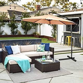OAKVILLE FURNITURE 61105 5-Piece Made in USA Outdoor Patio Furniture Sets Wicker Rattan Sectional Sofa Conversation Set Brown Wicker, Beige Cushion