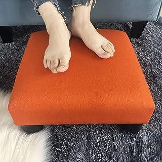 Adeco Small Ottoman Geometric Art – Cuboid & Cylinder Footstool Footrest, Dynamic Orange