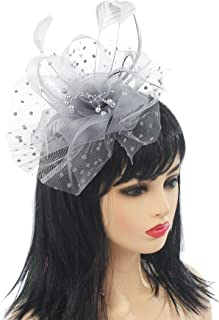 Myjoyday Fascinator Hats Flower Mesh Feathers on Headband Kentucky Derby Wedding Tea Party Headwear for Women