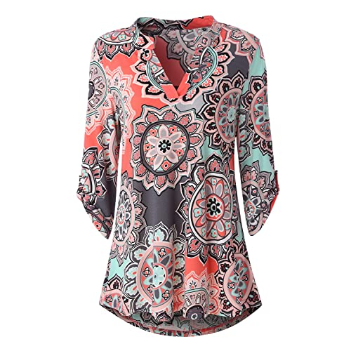 c39929af557 Zattcas Womens Floral Printed Tunic Shirts 3/4 Roll Sleeve Notch Neck Tunic  Top